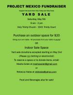 Yard Sale Saturday, May 5th 9 AM - 2 PM